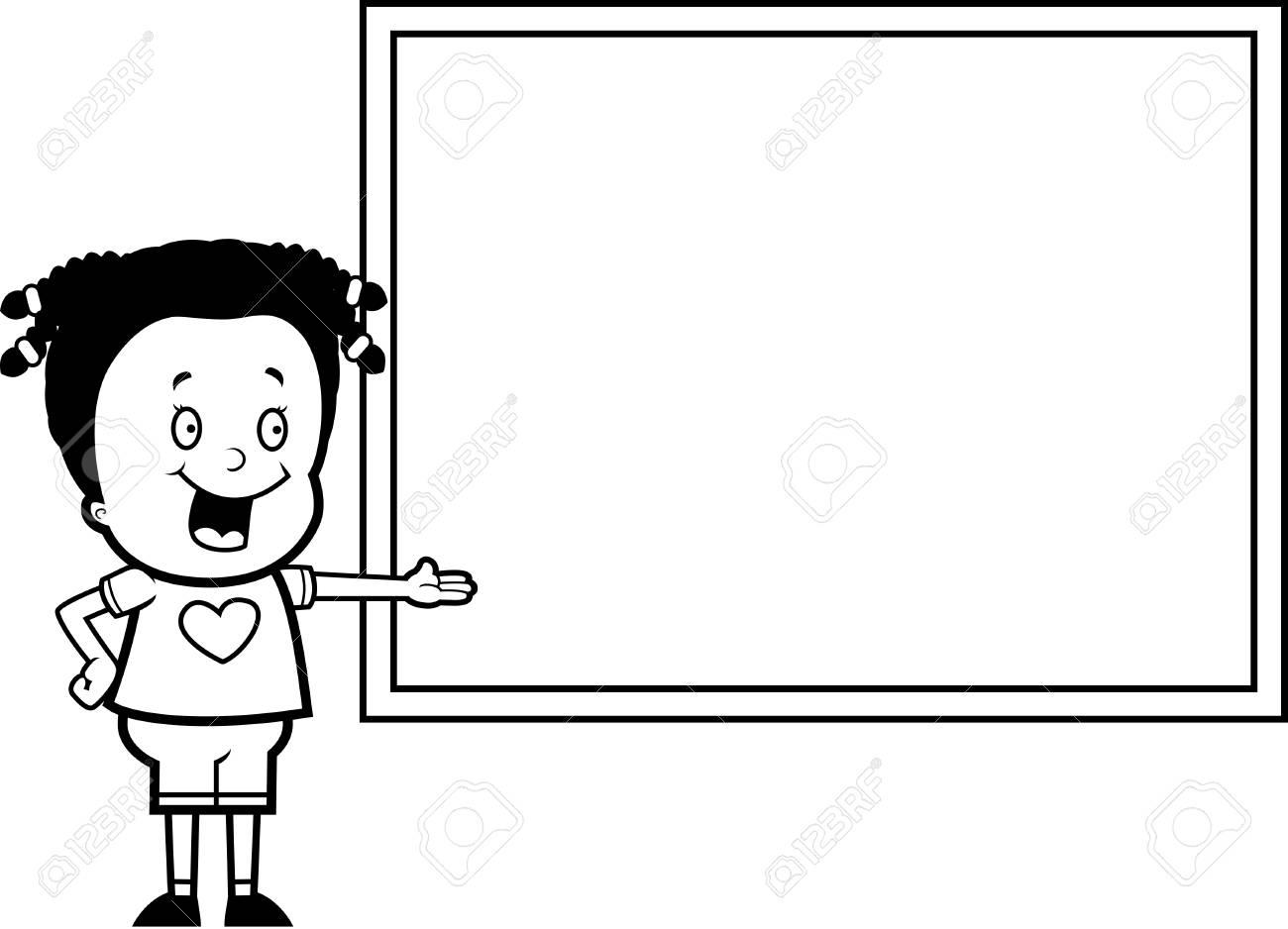 Una Niña De Dibujos Animados Feliz Delante De Una Pizarra