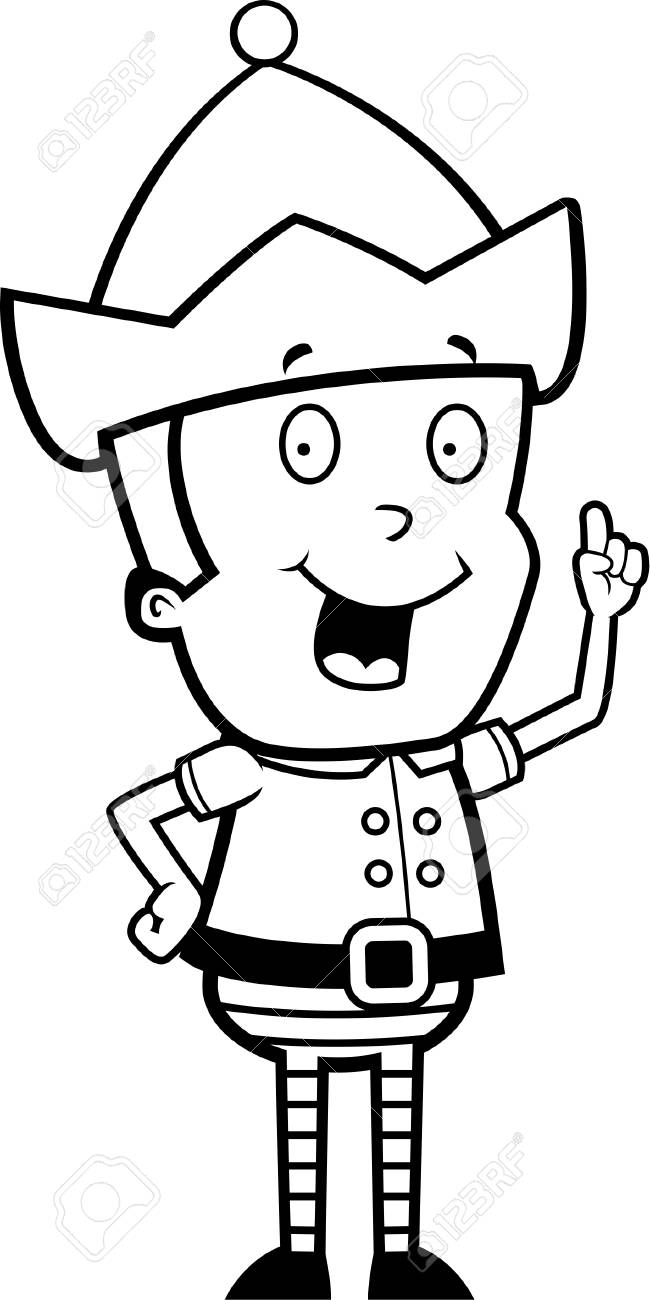 Un Dessin Anime Lutin De Noel Heureux Avec Une Idee Clip Art Libres De Droits Vecteurs Et Illustration Image 43783168