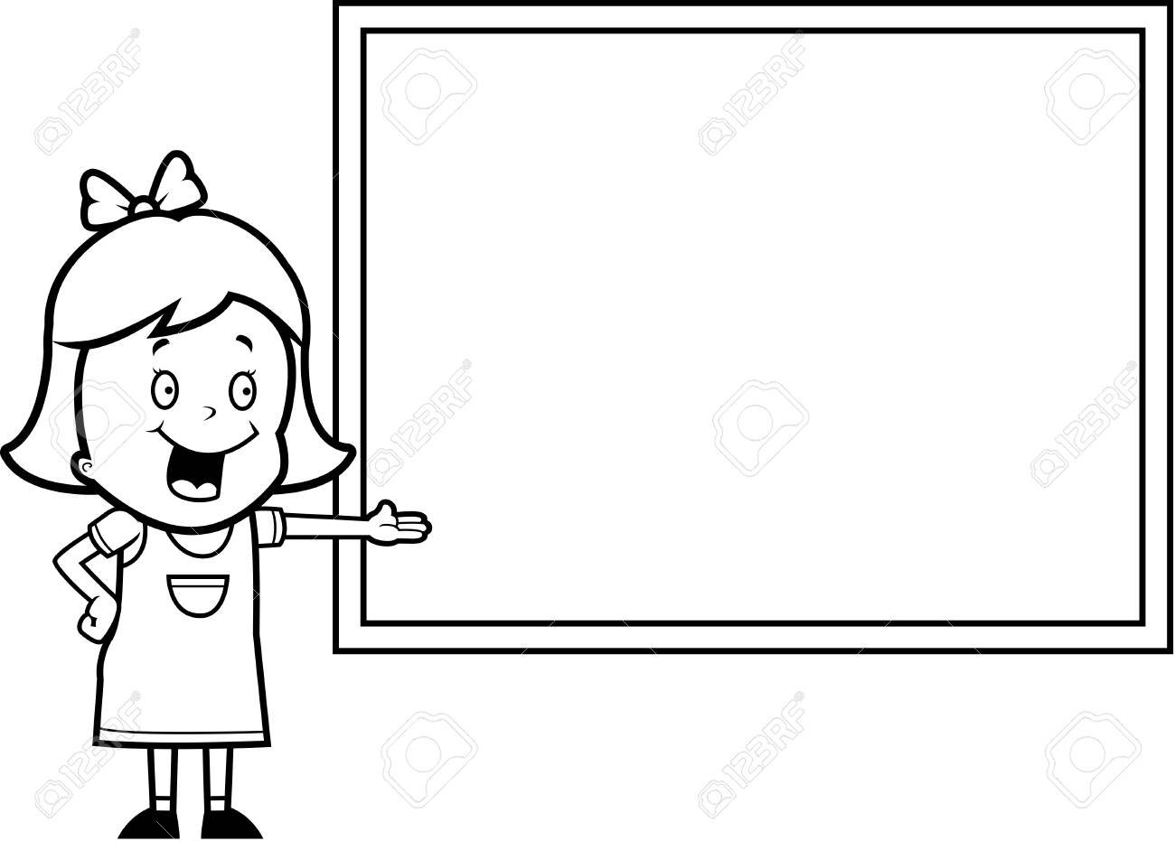 A happy cartoon child student at a chalkboard in school