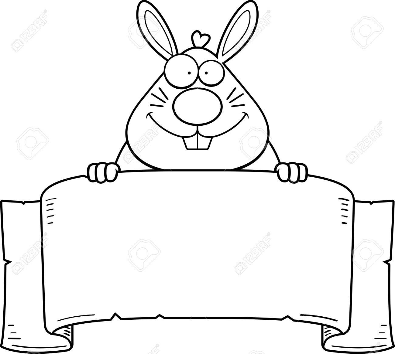 Une Illustration De Dessin Animé D Un Lapin Avec Une Bannière