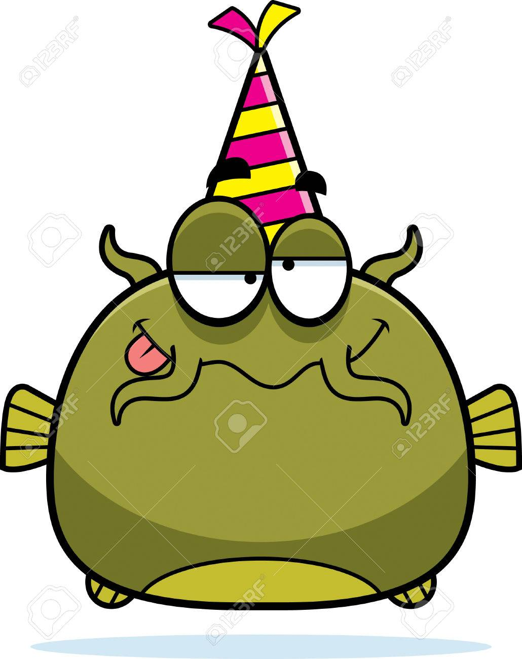 Foto de archivo , Una ilustración de dibujos animados de un pez gato con un sombrero de fiesta buscando borracho.
