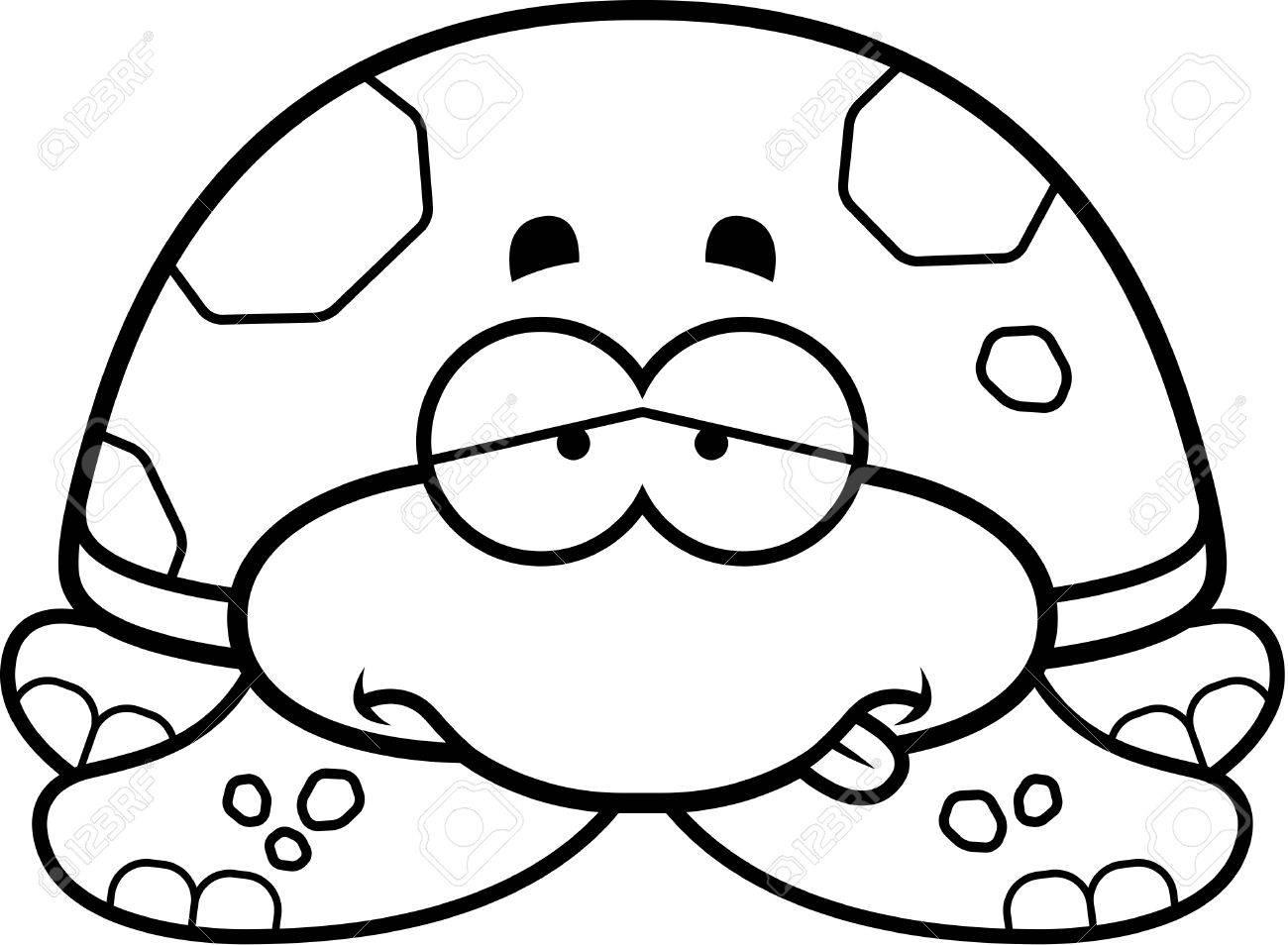 A Cartoon Illustration Of A Little Sea Turtle Looking Sick