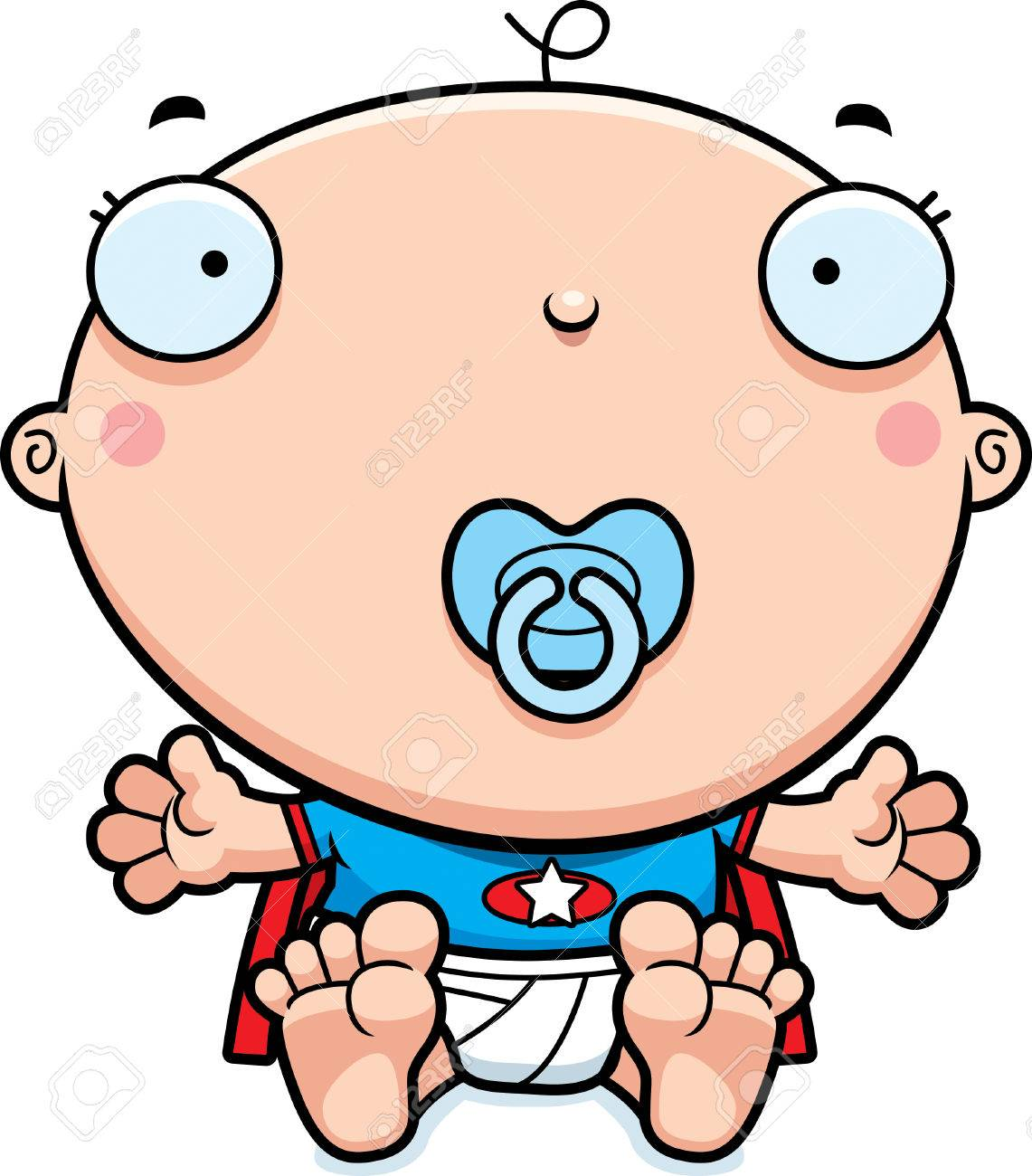 Une Illustration De Dessin Animé D Un Bébé Super Héros Avec Une Sucette