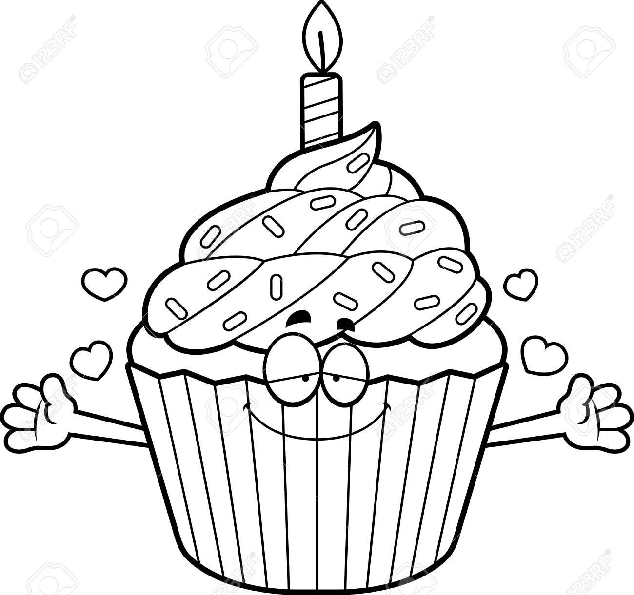 A Cartoon Illustration Of A Birthday Cupcake Ready To Give A