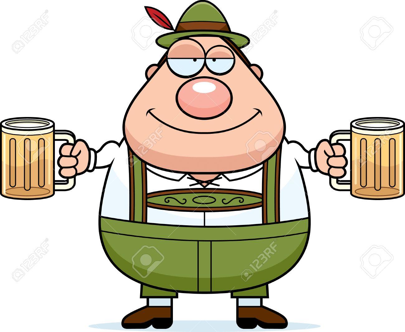 A Cartoon Illustration Of A German Man In Lederhosen Drinking ...