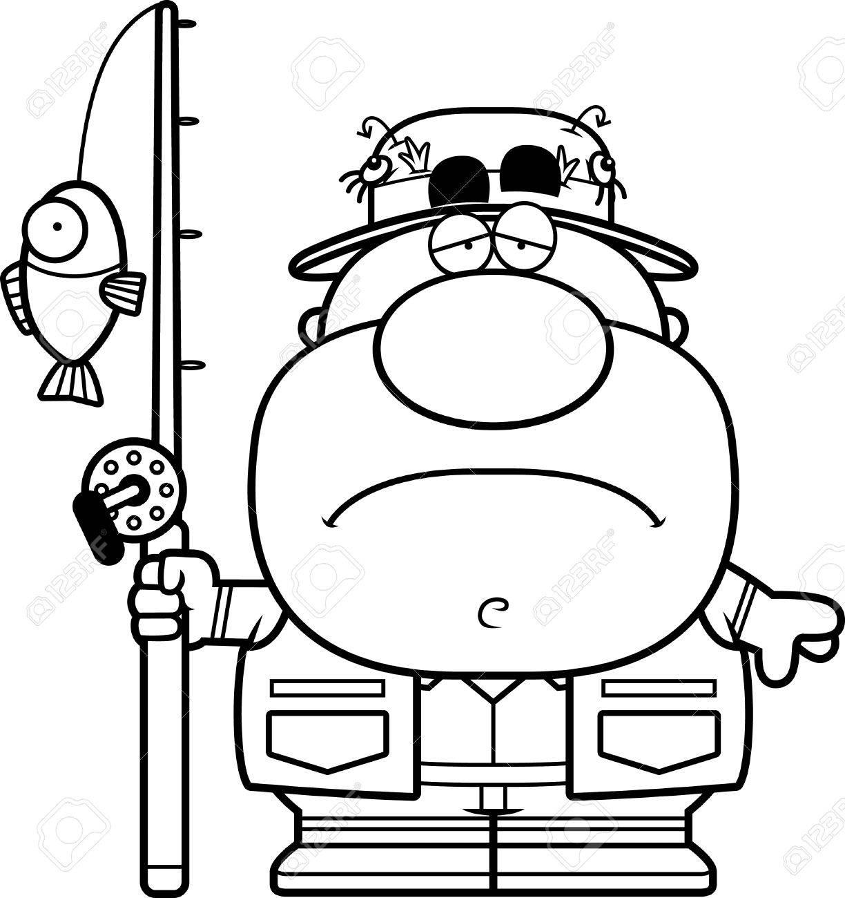 悲しい表情で漁師の漫画イラストのイラスト素材ベクタ Image 44473889