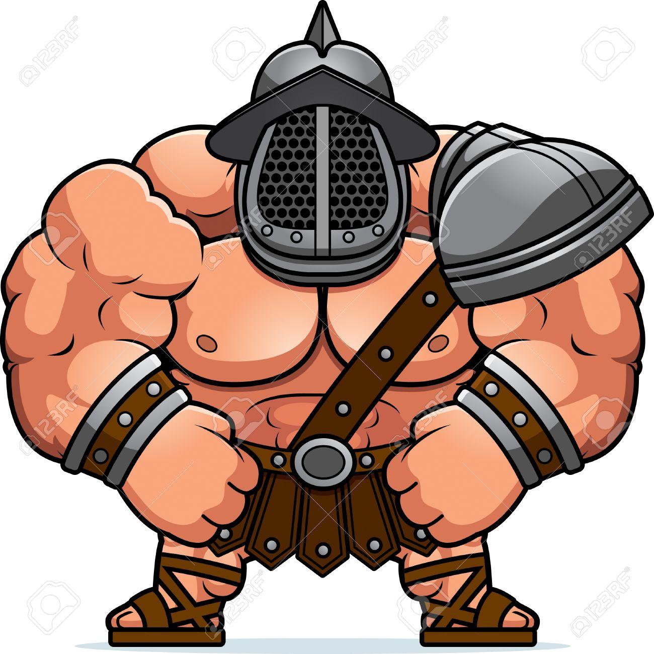 Una Ilustración De Dibujos Animados De Un Gladiador Flexión Muscular ...