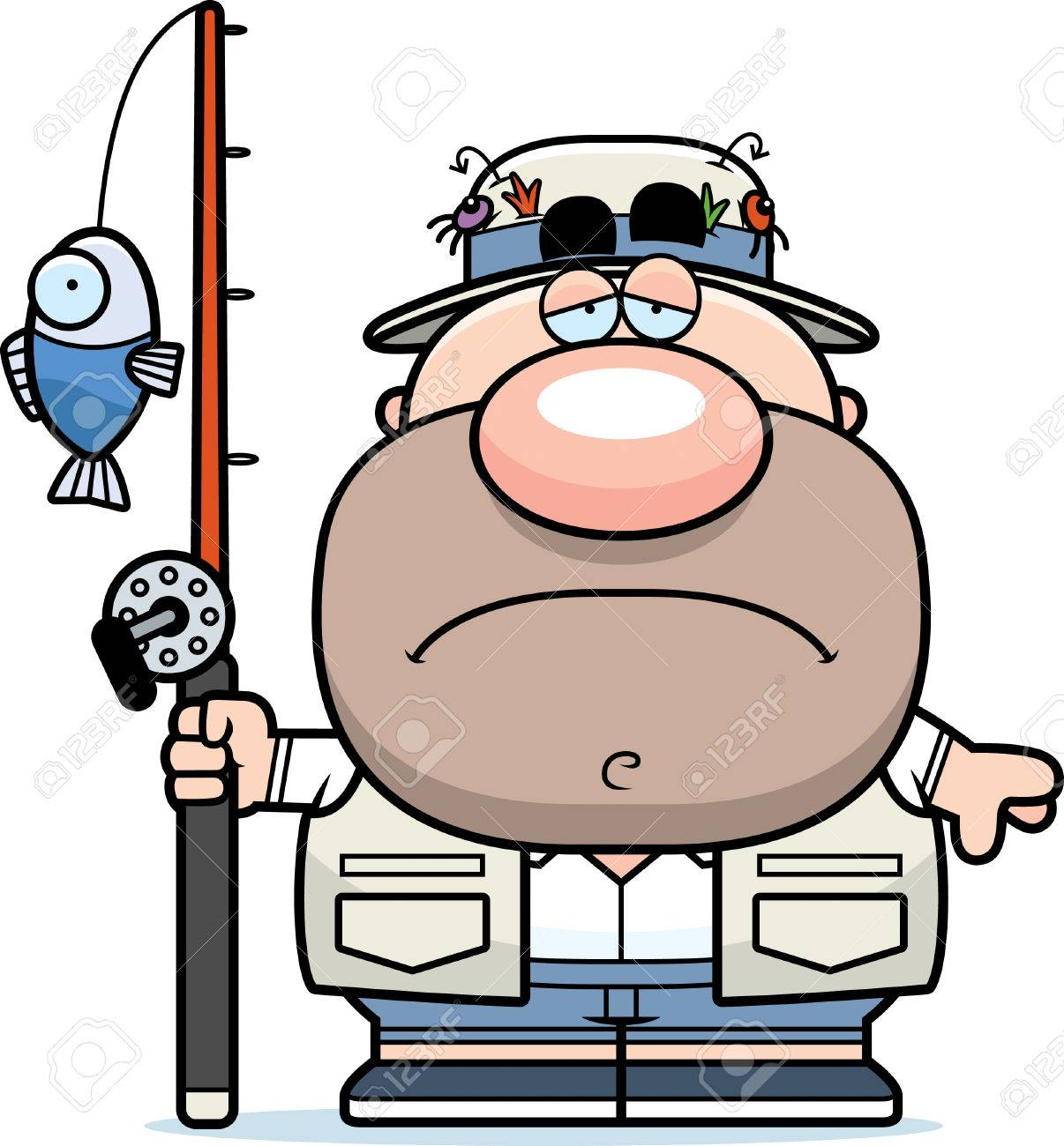 悲しい表情で漁師の漫画イラストのイラスト素材ベクタ Image 44477211