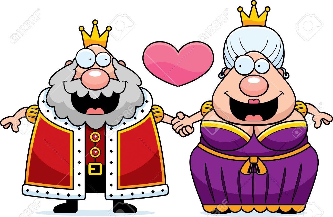 Una Ilustración De Dibujos Animados De Un Rey Y La Reina De La Mano
