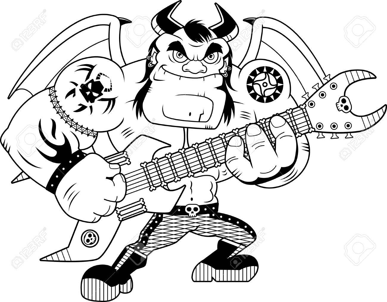 A cartoon illustration of a heavy metal demon playing guitar.