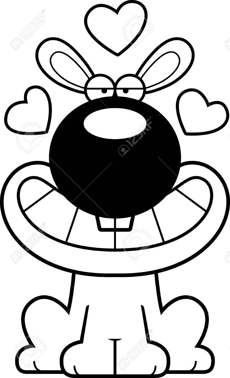 Une Illustration De Dessin Animé D Un Lapin Avec Une Expression Amoureuse