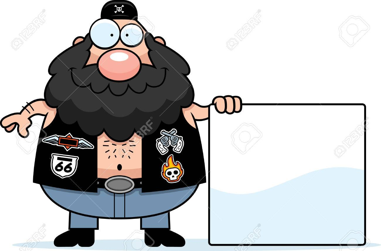 Dessin De Motard une illustration de dessin animé d'un motard avec un signe. clip art
