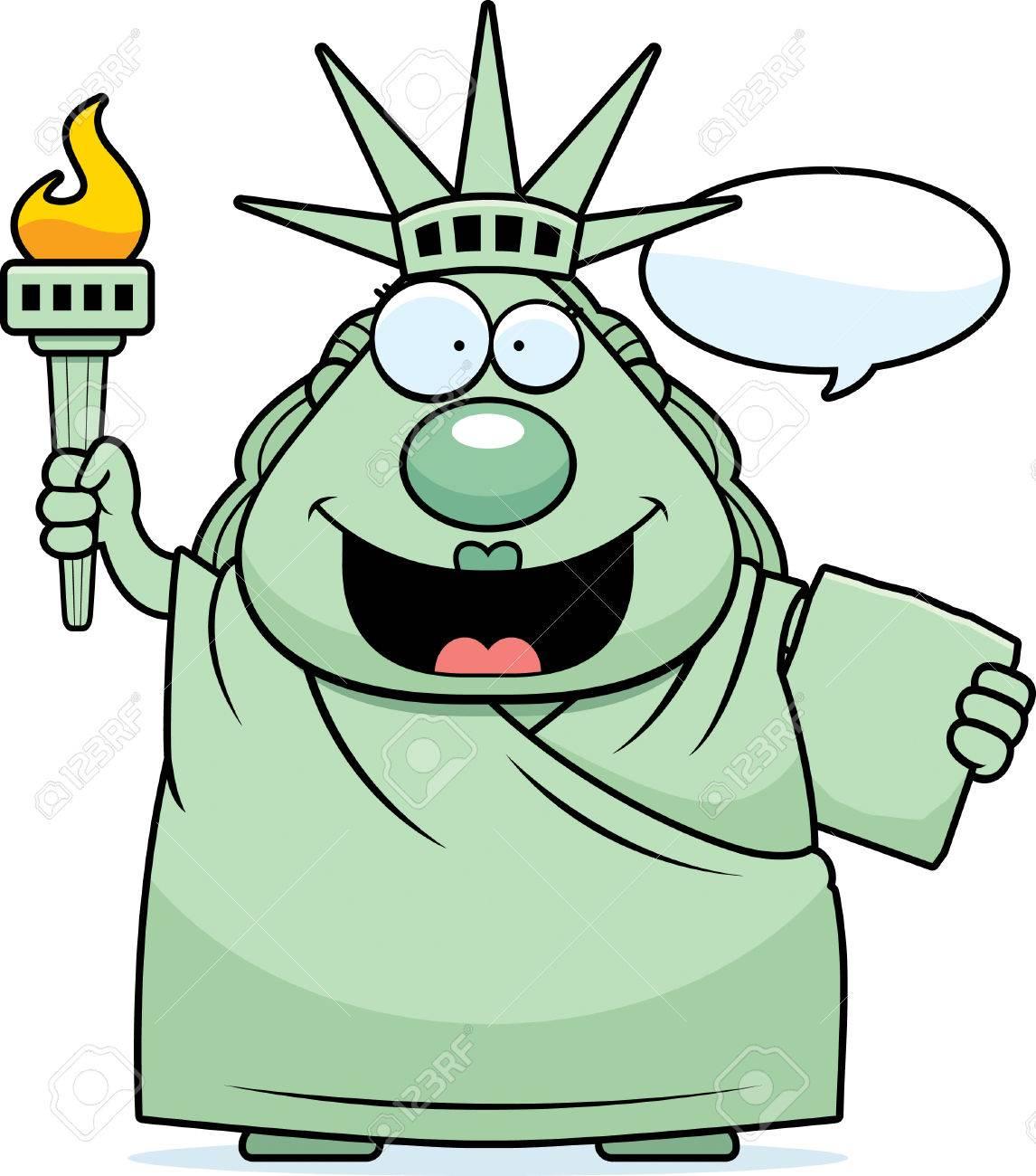 自由の女神像の話の漫画イラストのイラスト素材ベクタ Image 44502704