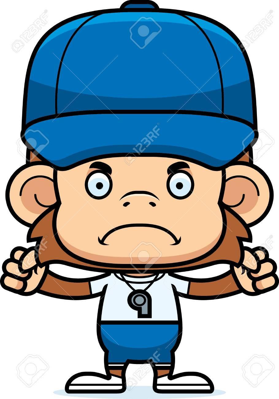 A Cartoon Coach Monkey Looking Angry Royalty Free Cliparts Vectors