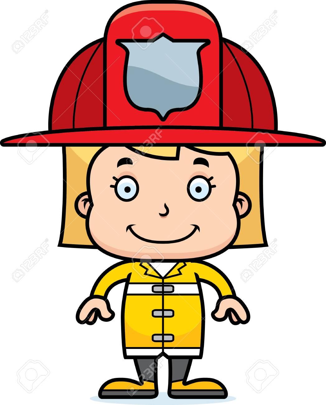 Dessin Pompier une fille de pompier de dessin animé souriante. clip art libres de