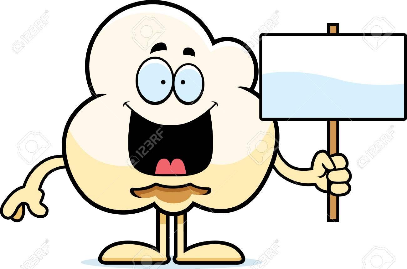 a cartoon illustration of a popcorn kernel holding a sign royalty rh 123rf com popcorn kernel clipart popcorn kernel clipart free