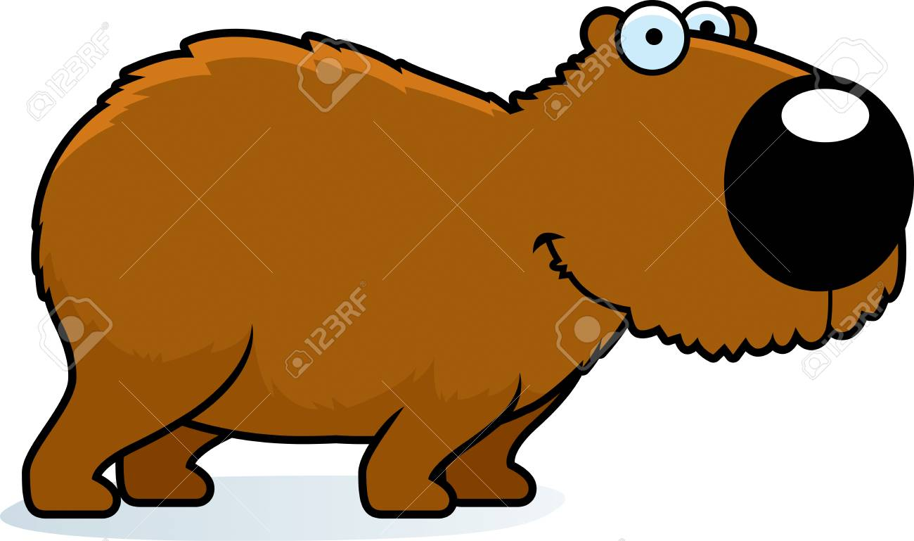 A Cartoon Illustration Of A Capybara Smiling And Standing Royalty