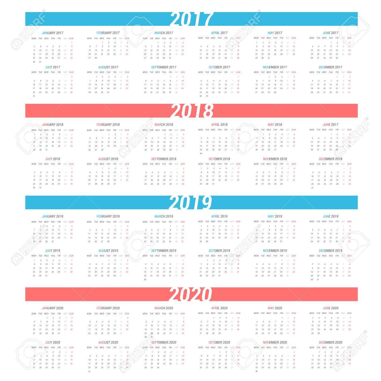 Calendrier 2020 Semaine Numerotees.Calendrier Simple Pour 4 Ans 2017 2018 2019 2020 Semaine Commence A Partir De Lundi