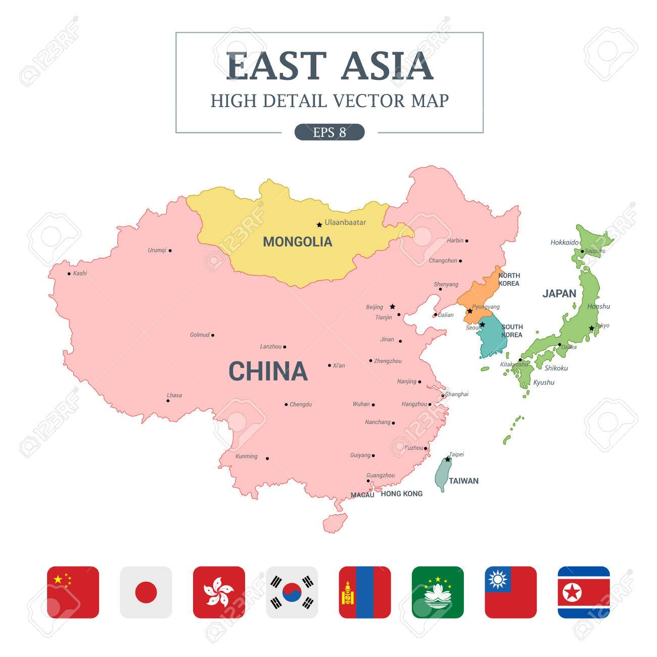 east asia map full color high detail separated all countries vector illustration stock vector 78780074
