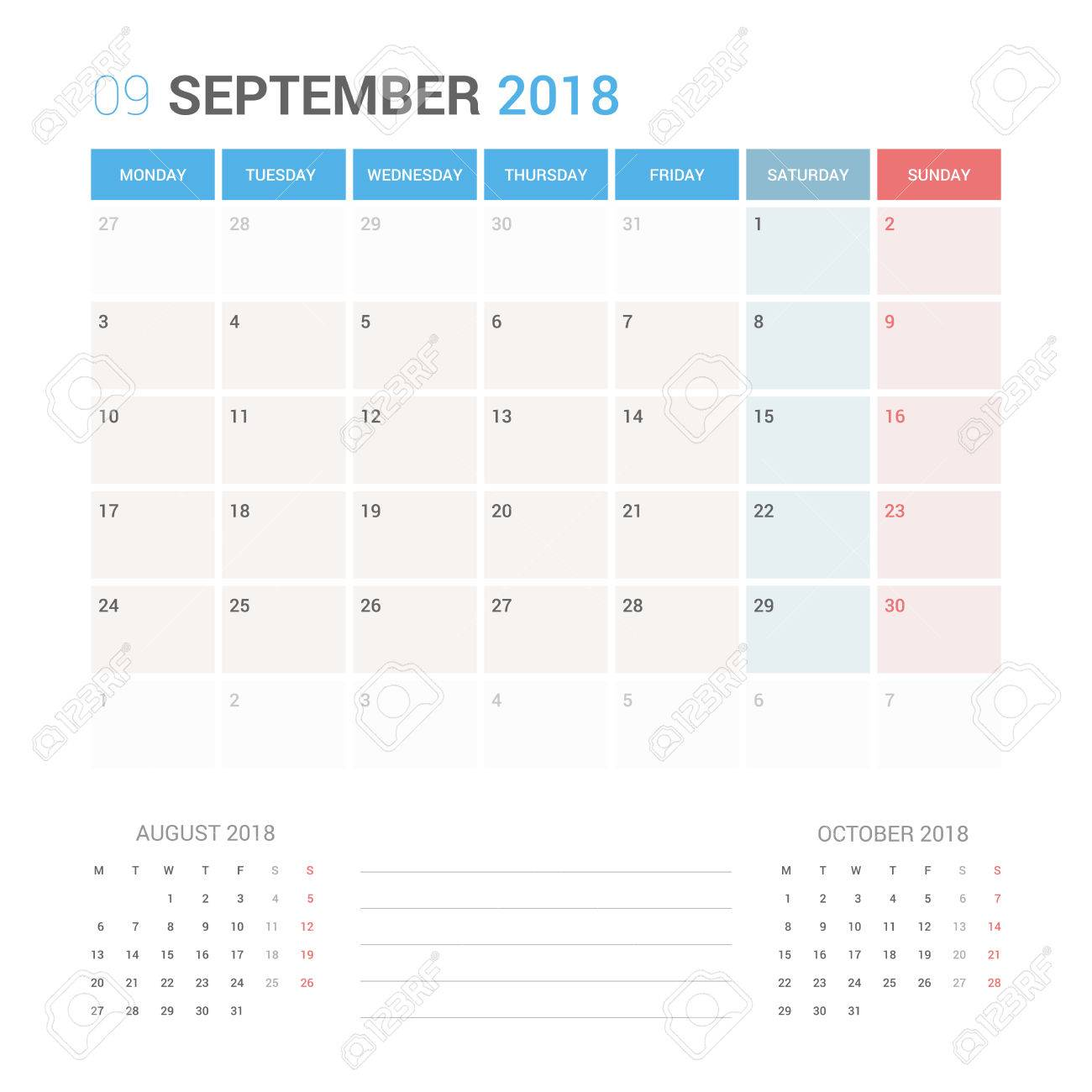 Planificador De Calendario Para Septiembre De 2018 Vector Plantilla ...