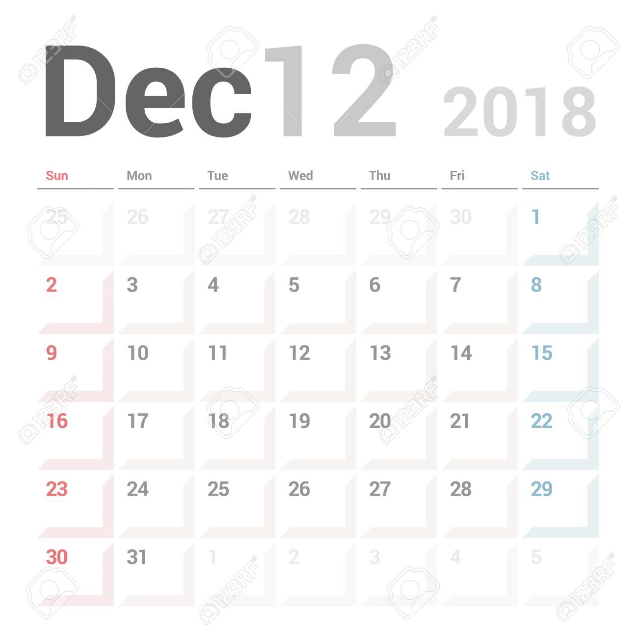 Planificador De Calendario Para Diciembre De 2018 Plantilla De ...