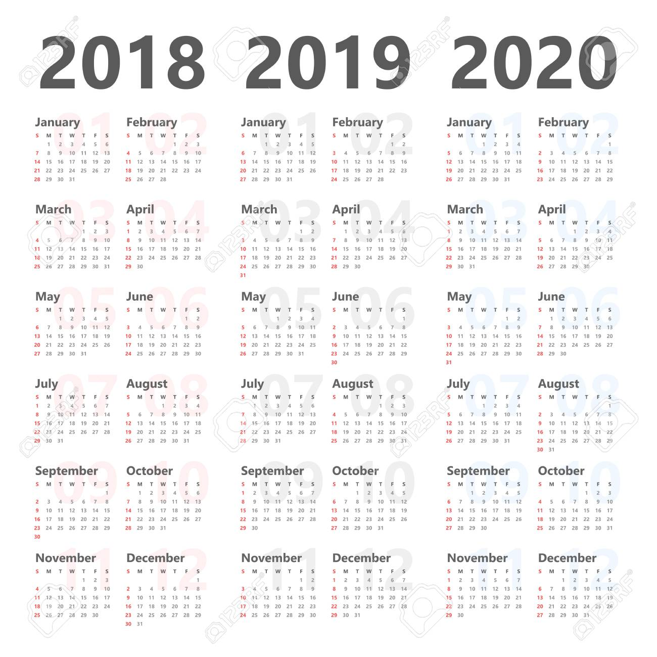 Calendar 2020 And 2018 Yearly Calendar Template For 2018 To 2020. Royalty Free Cliparts