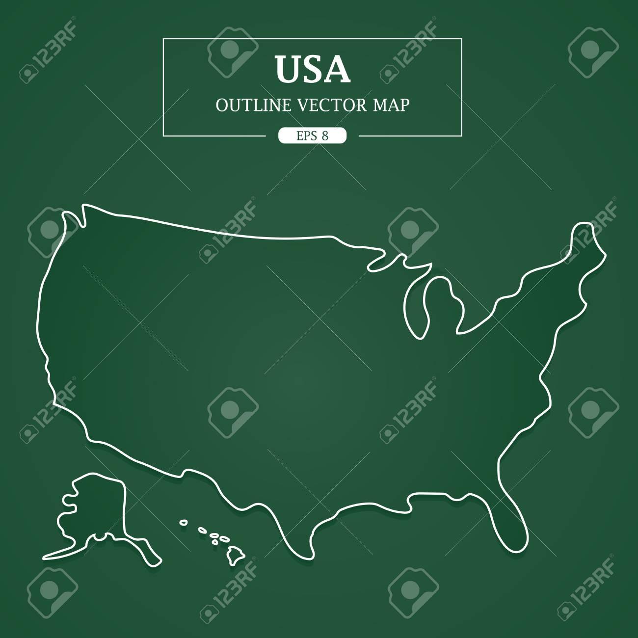 USA Map outline on green background Vector Illustration.