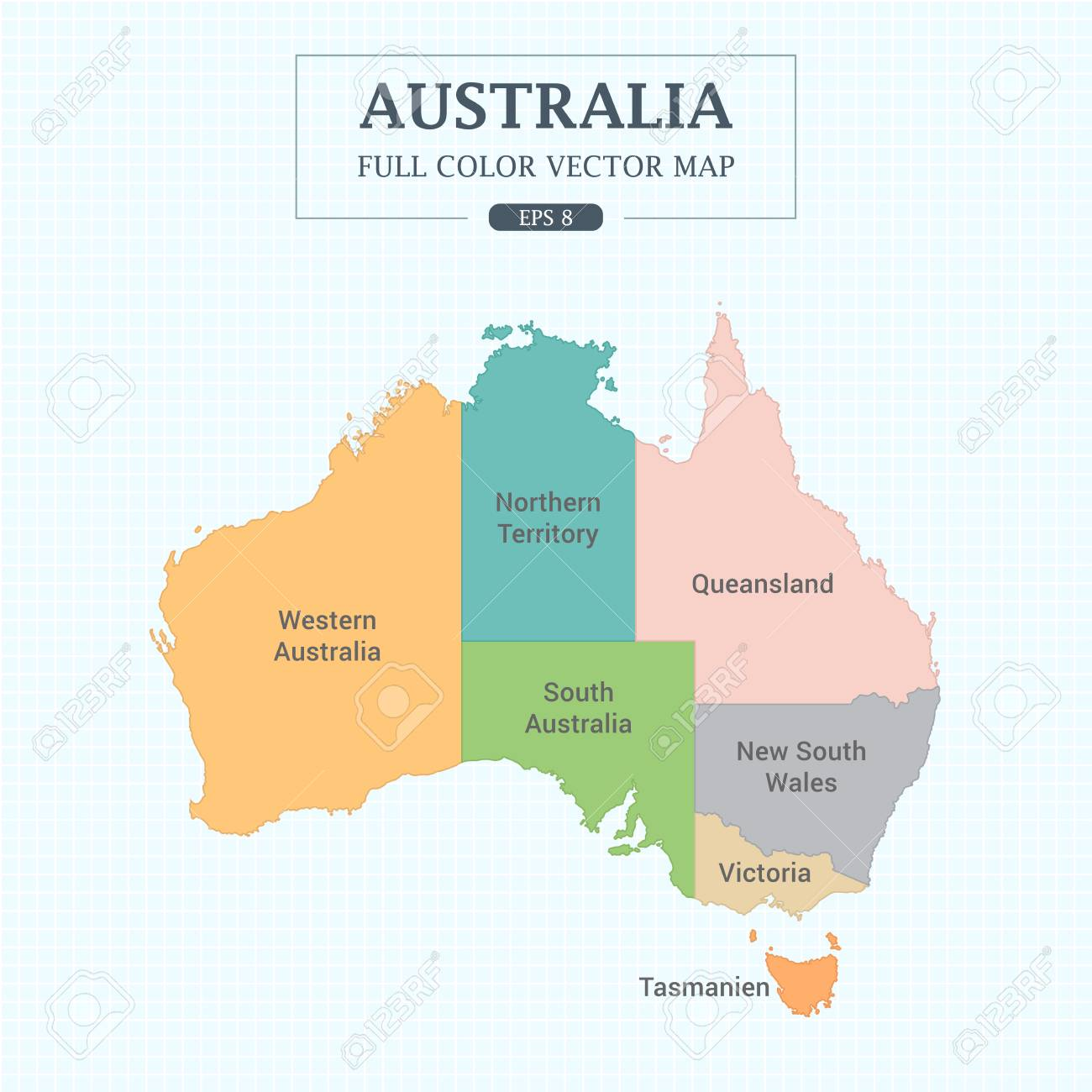 Australia Map Full Color High Detail Separated All States Vector