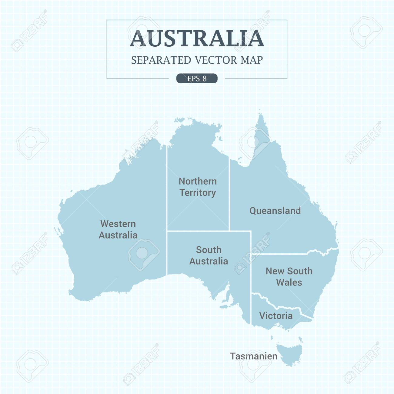 Australia Map Vector With States.Australia Map Mono Color High Detail Separated All States Vector