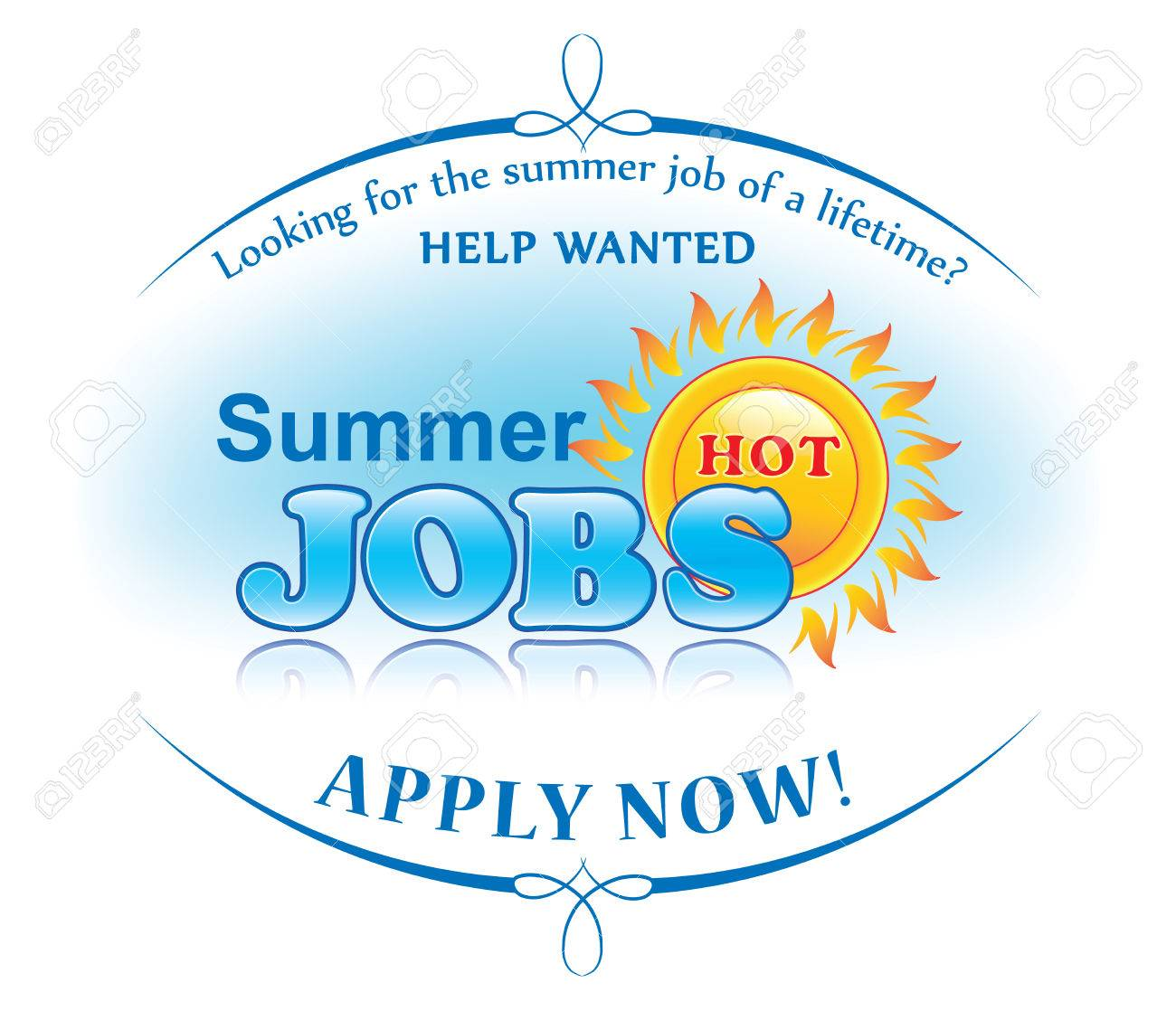 Summer jobs offer sticker for print  Help wanted  Apply now!