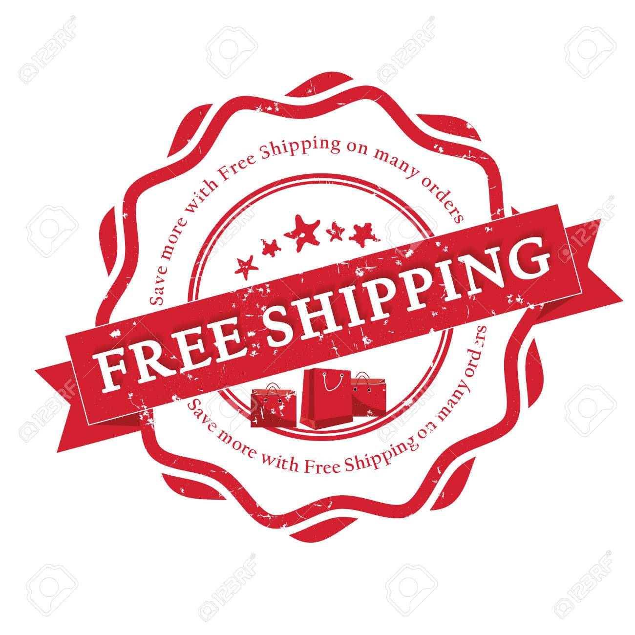 free shipping red sticker label vector illustration for print