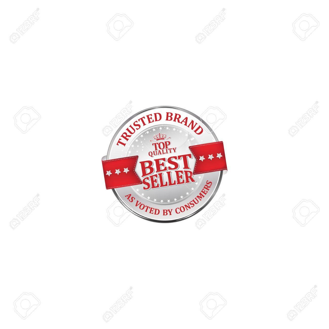 Marca de confianza, según lo votado por los consumidores, éxito de ventas, de calidad superior brillante de lujo rojo metálico icono cinta para