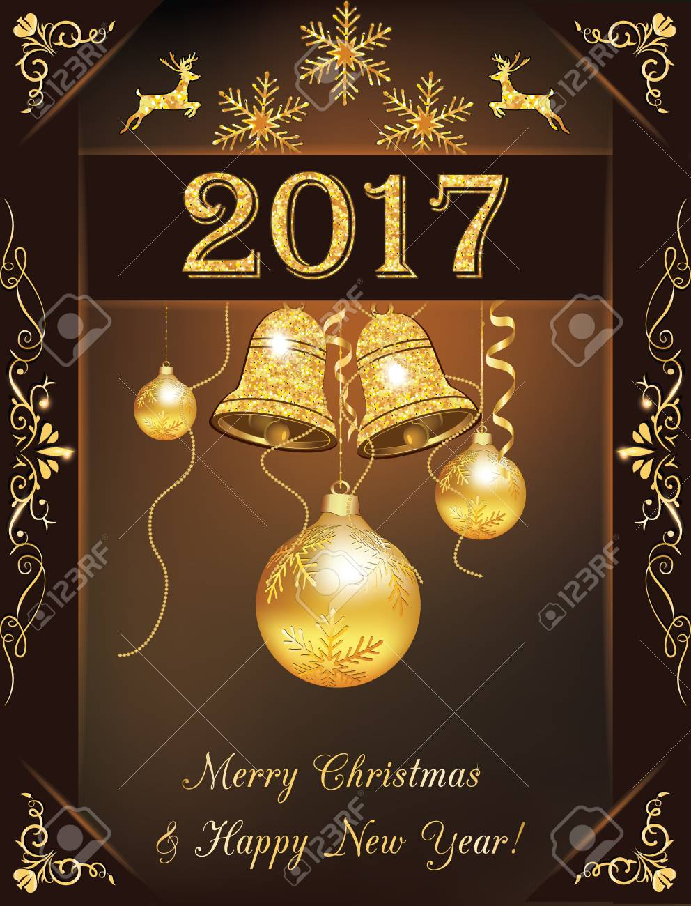 Christmas and 2017 new year greeting card golden brown 2017 stock christmas and 2017 new year greeting card golden brown 2017 greeting card for christmas and m4hsunfo
