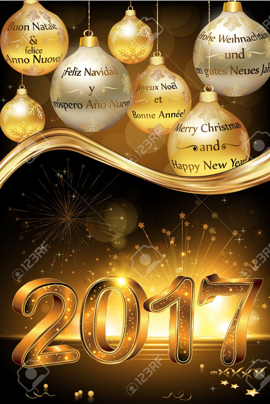 Happy New Year 2017 Greeting Card Card With Message In Many Stock