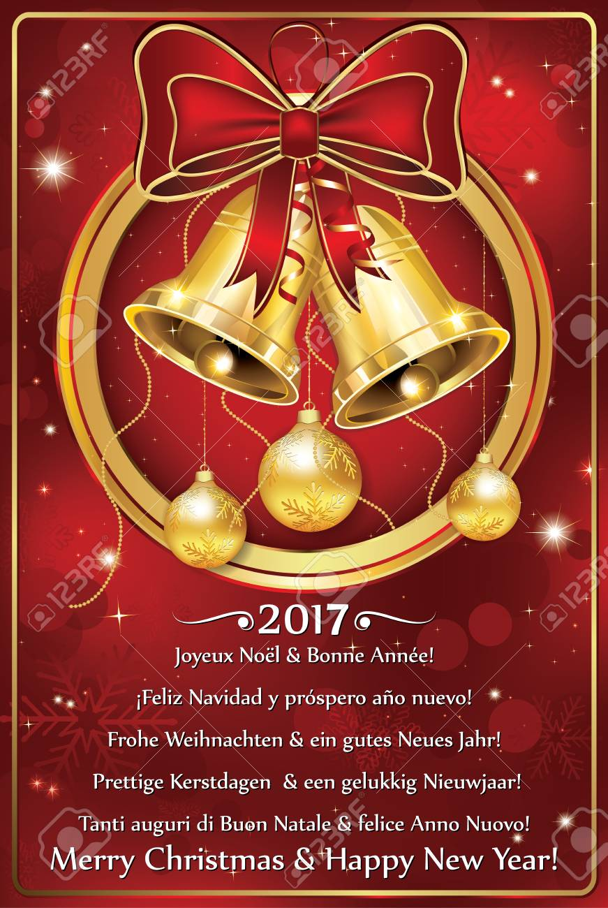 happy new year greeting card in many languages for the year 2017 printing colors
