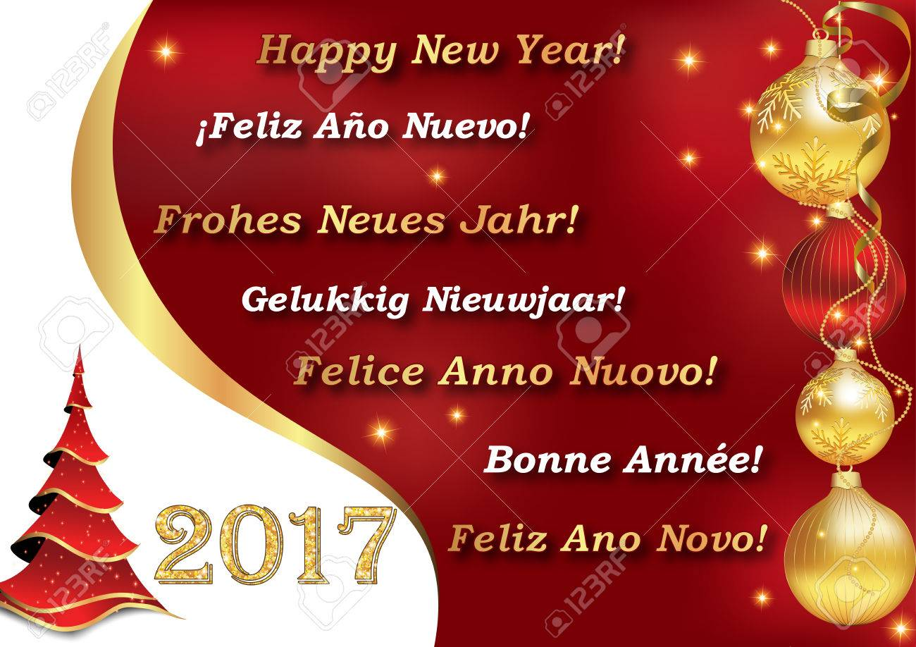 greeting card for new year 2017 with the wishes happy new year in many languages