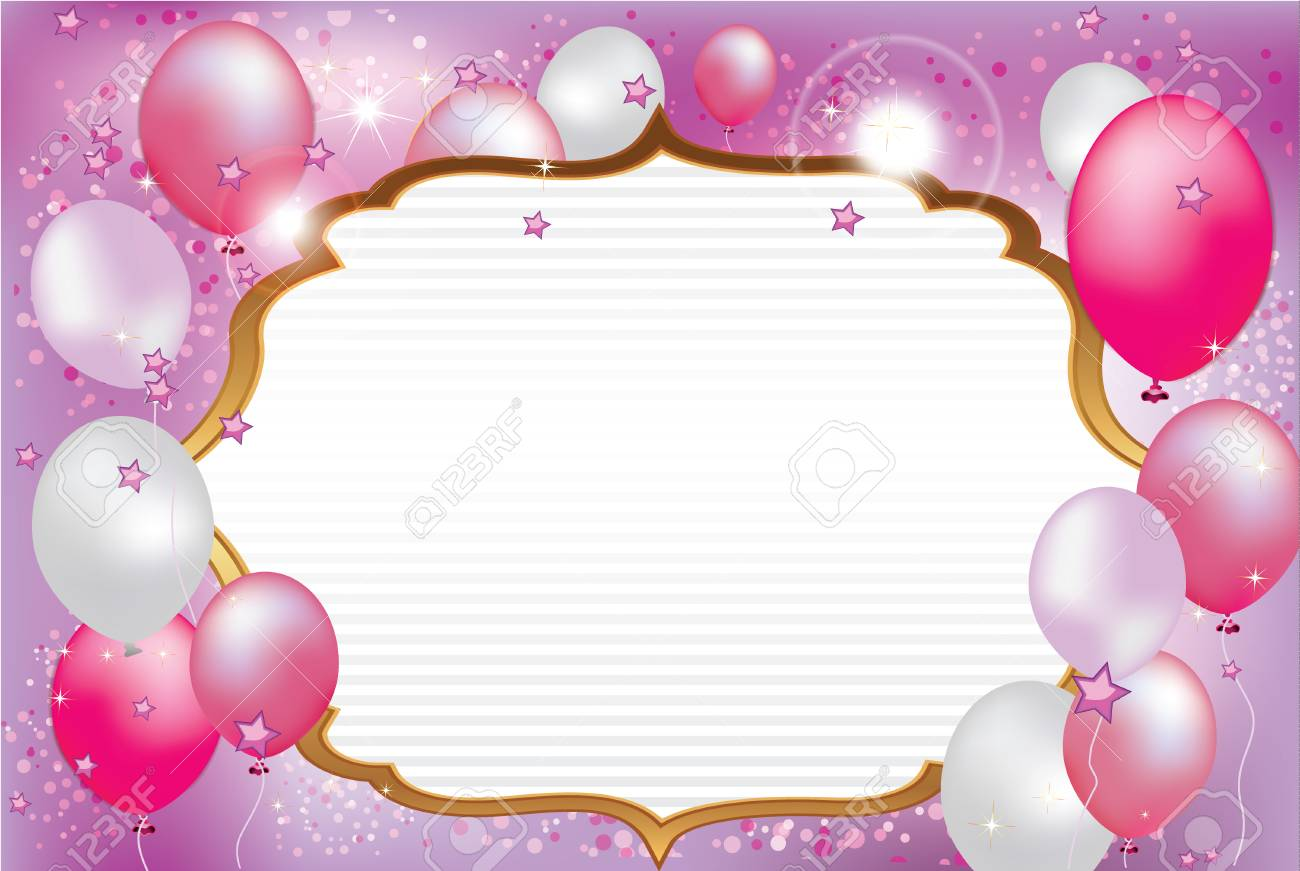 celebration background card with balloons color used cmyk