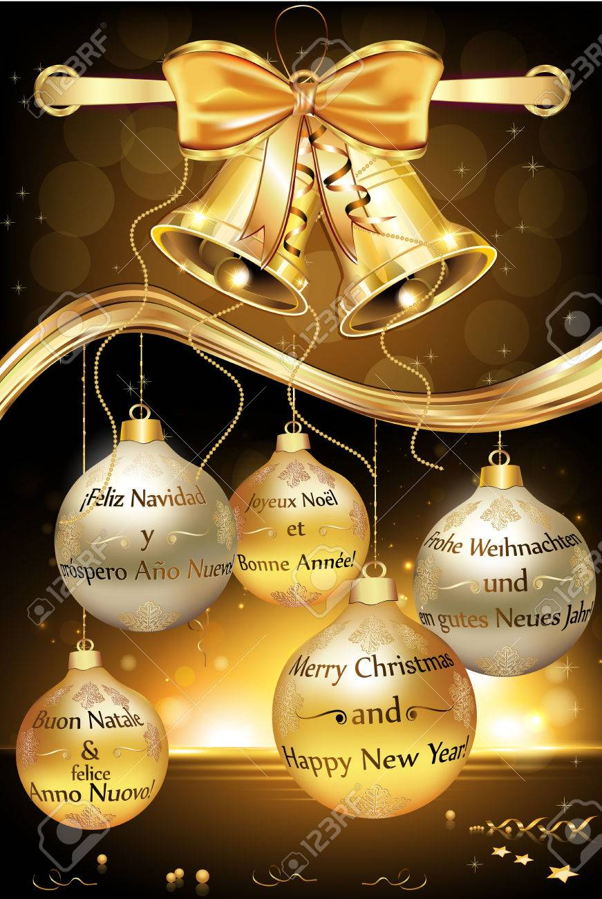 Buon Natale Jingle Bells.Greeting Card For New Year With Message In Many Languages English