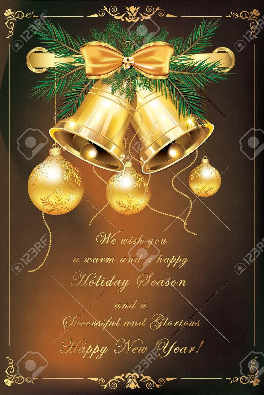 8060f50240458 Foto de archivo - Tarjeta de felicitación elegante para Navidad y año  nuevo. Contiene cinta dorada