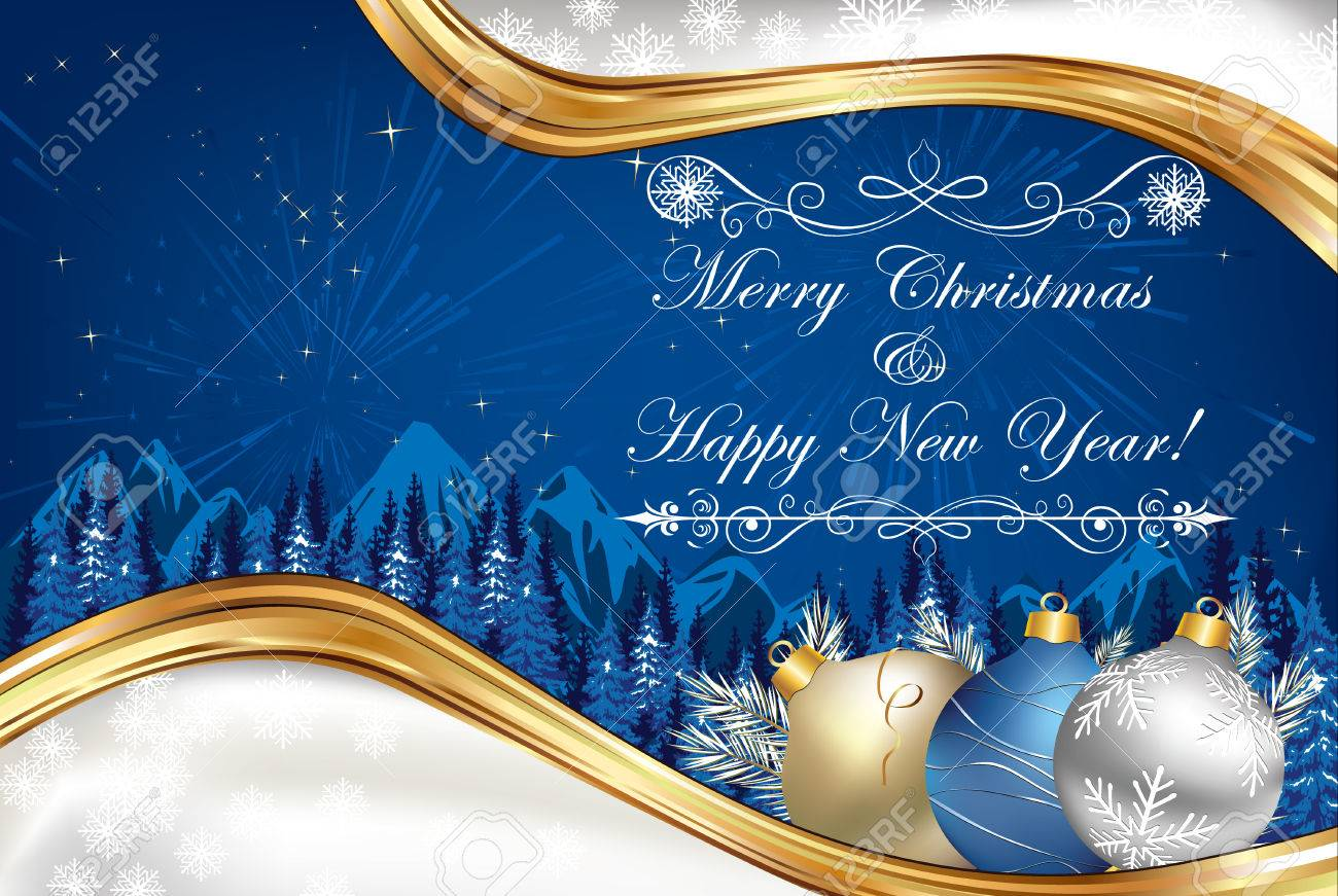 business blue christmas and new year background greeting card for print contains elegant snowflakes