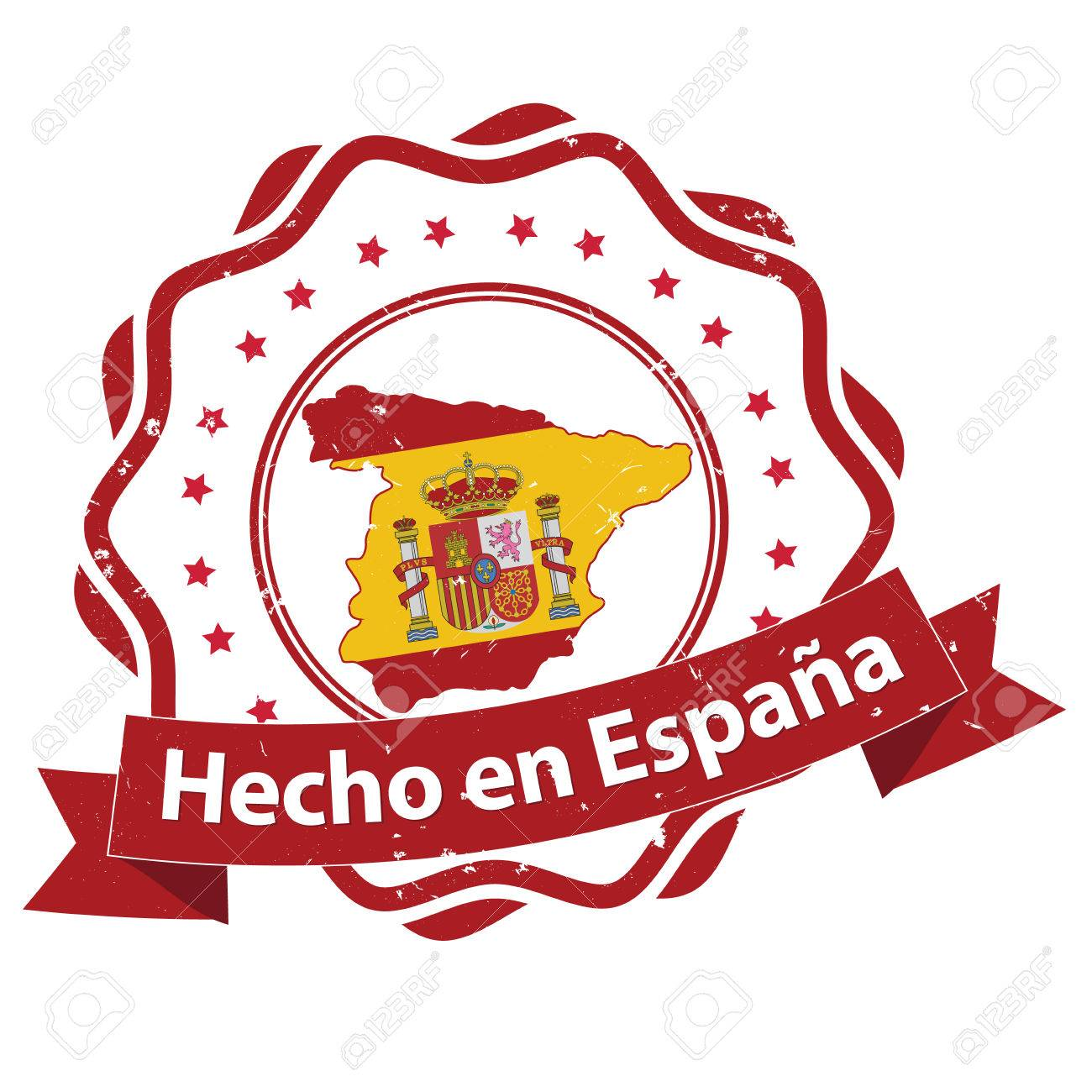 Made In Spain Text In Spanish Language Hecho En Espana Grunge ...