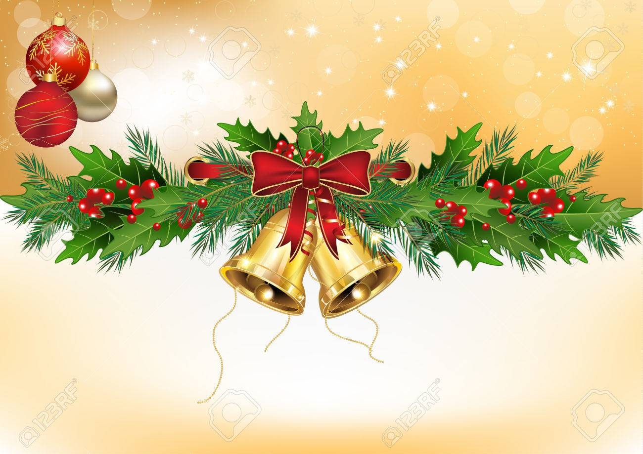 Winter Background With Christmas Decorations: Mistletoe, Christmas Baubles,  Jingle Bells Format A3