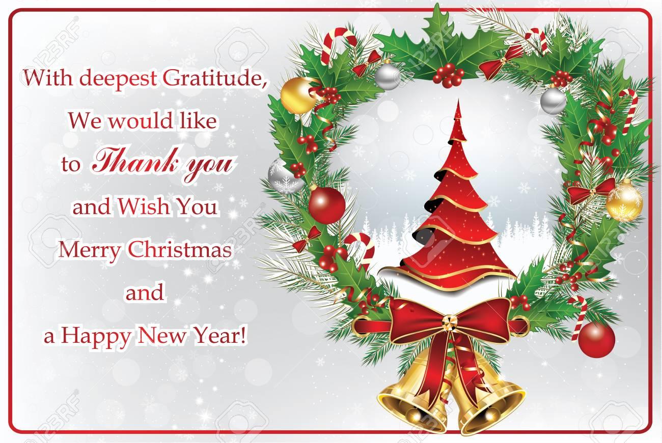Merci Carte De Voeux Pour Noël Et Nouvel An Contient Un Message De Remerciement De La Compagnie à Ses Affaires Et à Ses Clients Un Sapin De Noël