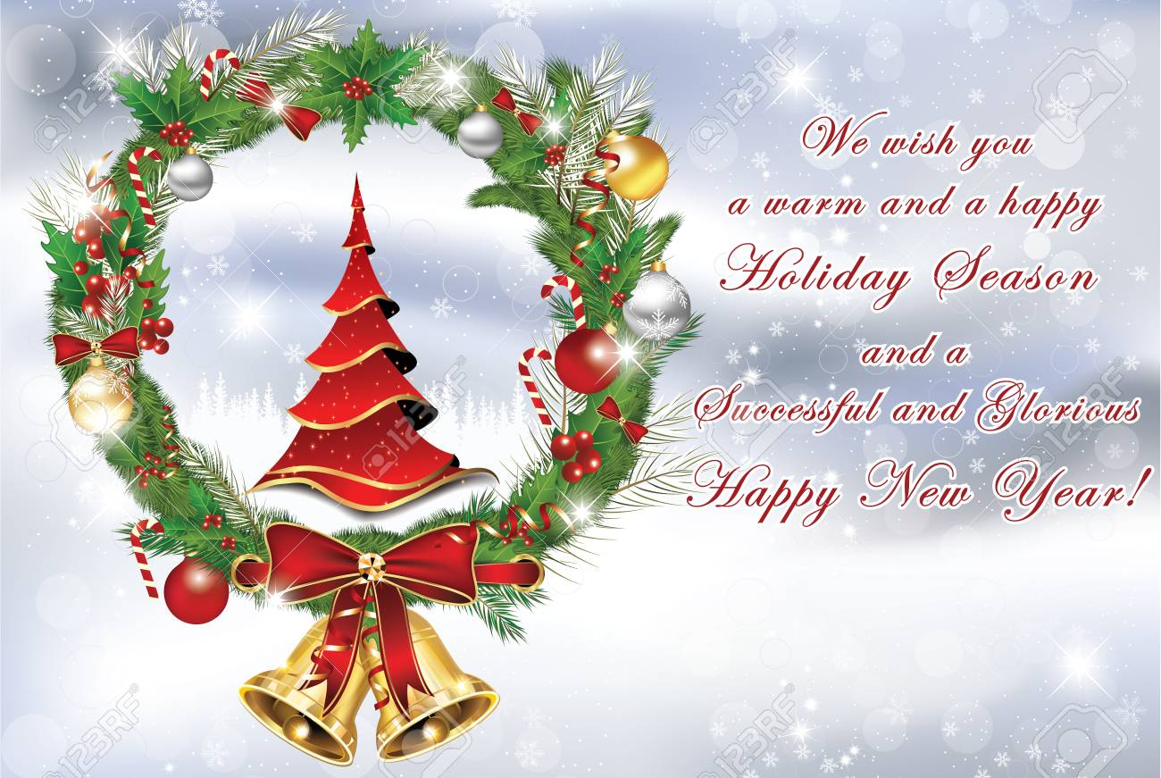 Business Christmas And New Year Greeting Card With Christmas ...