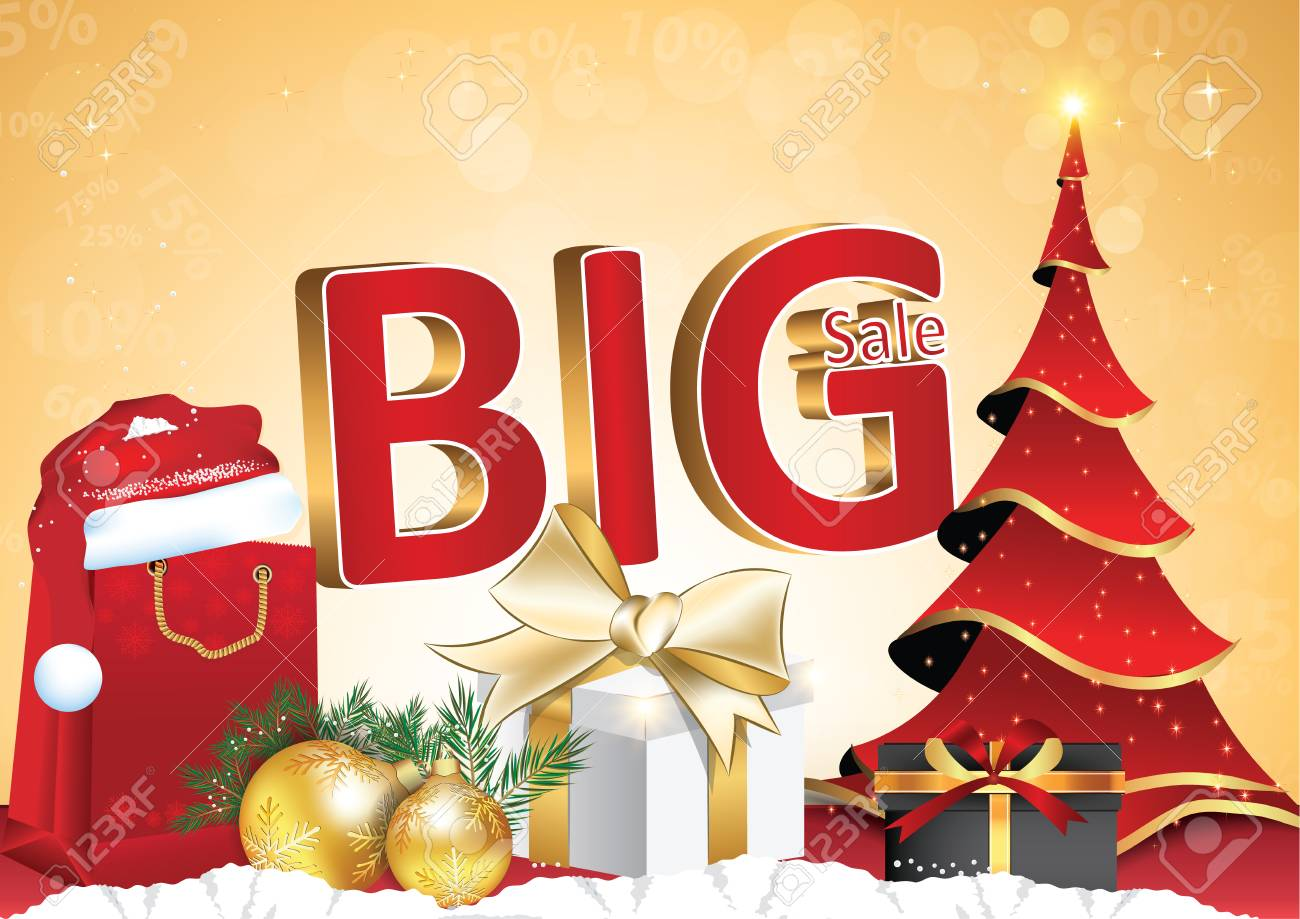 contains 3d text big sale present box gifts christmas baubles shopping bags christmas tree and santas hat format a3 print colors used - Used Christmas Decorations For Sale