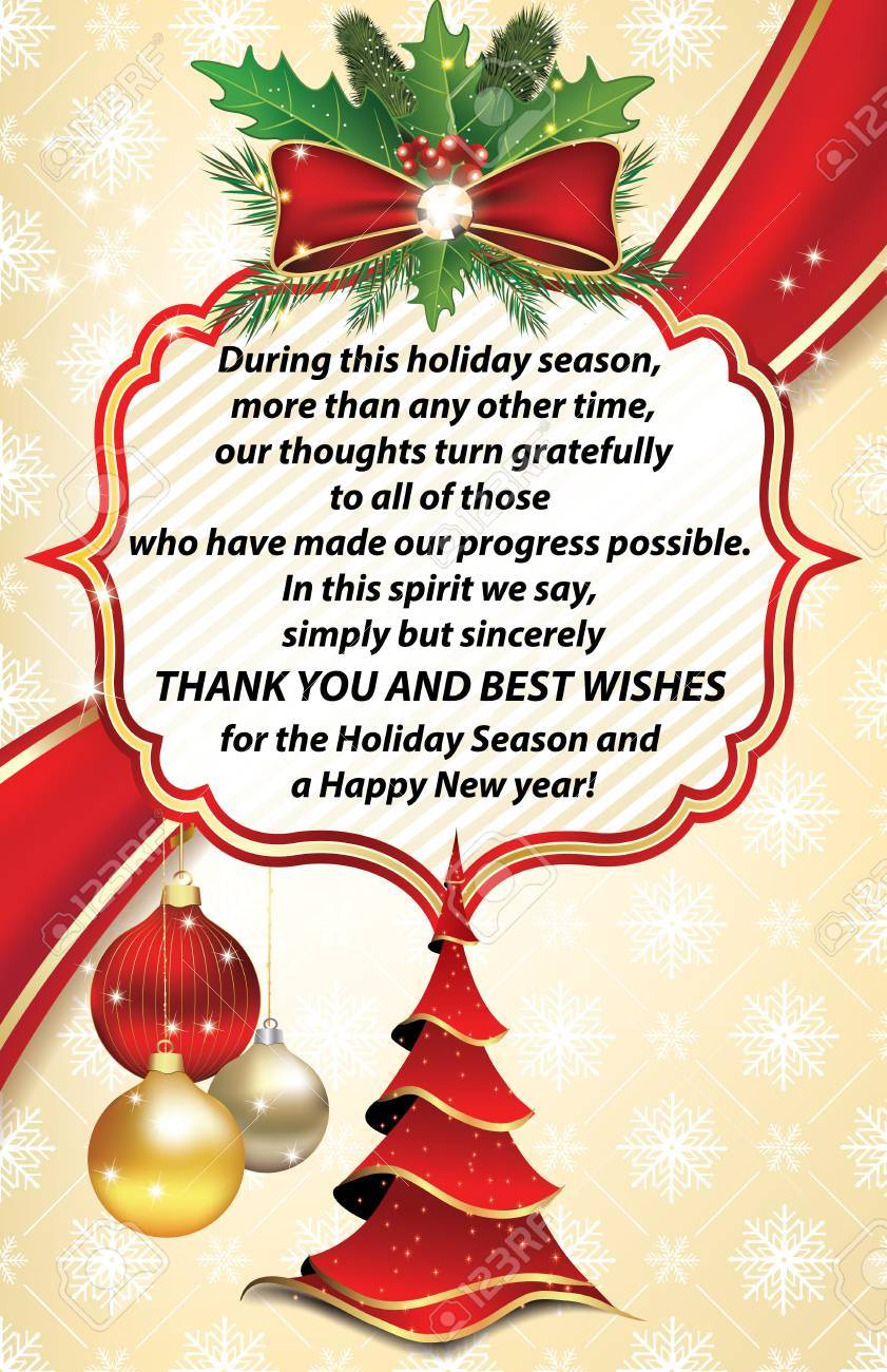 Thank You Business Greeting Card For Christmas And New Year... Stock ...