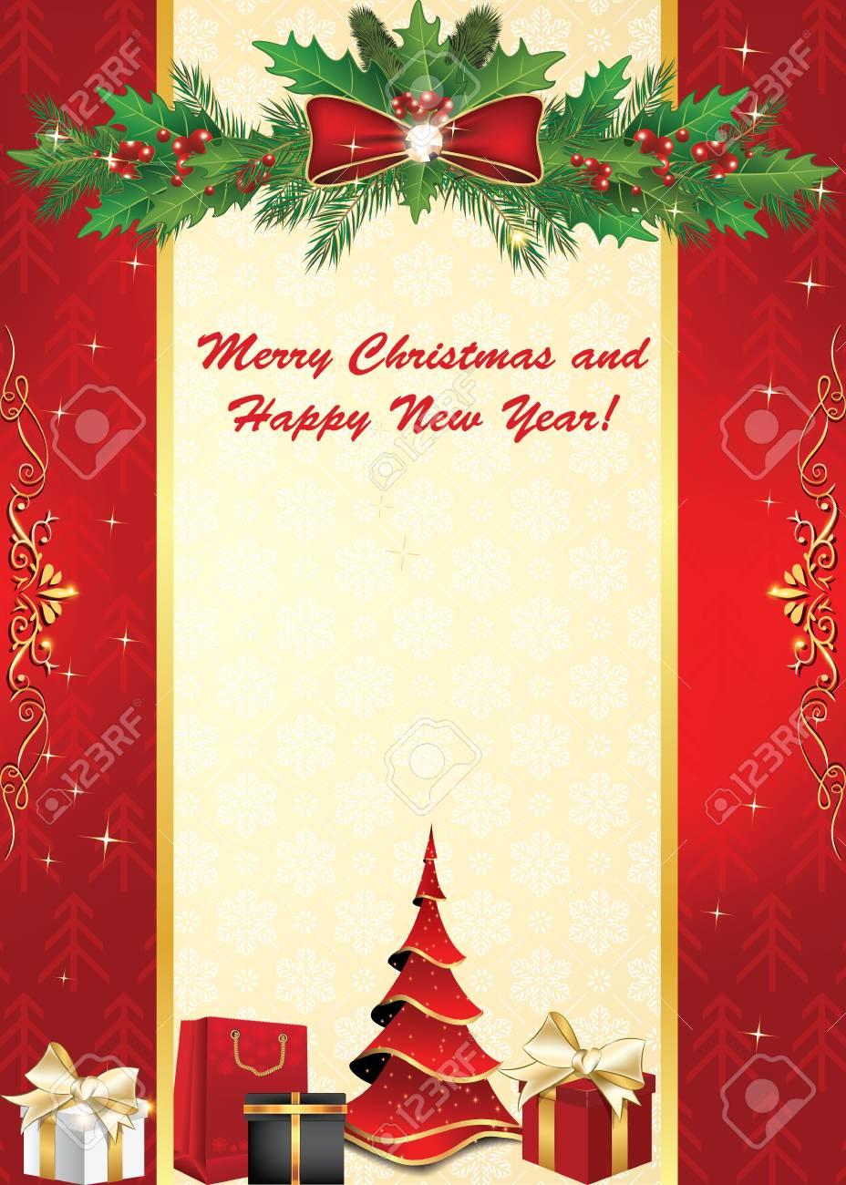 Felicitacion Navidad Personalizada Fotos.Tarjeta De Felicitacion De Feliz Navidad Y Feliz Ano Nuevo Con Adornos De Navidad Bayas De Acebo Patron De Los Copos De Nieve Colores De Impresion
