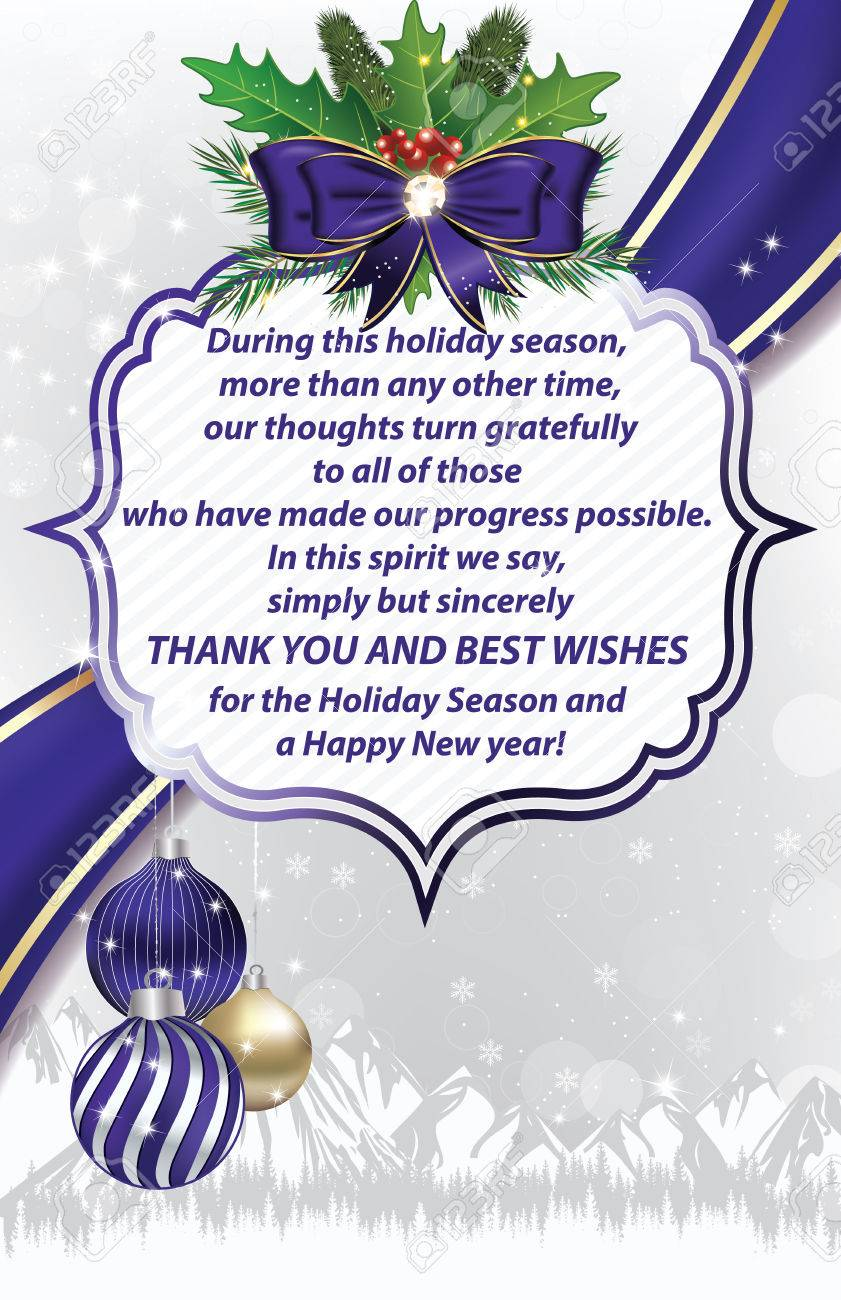 Thank You Business Christmas And New Year Greeting Card For ...