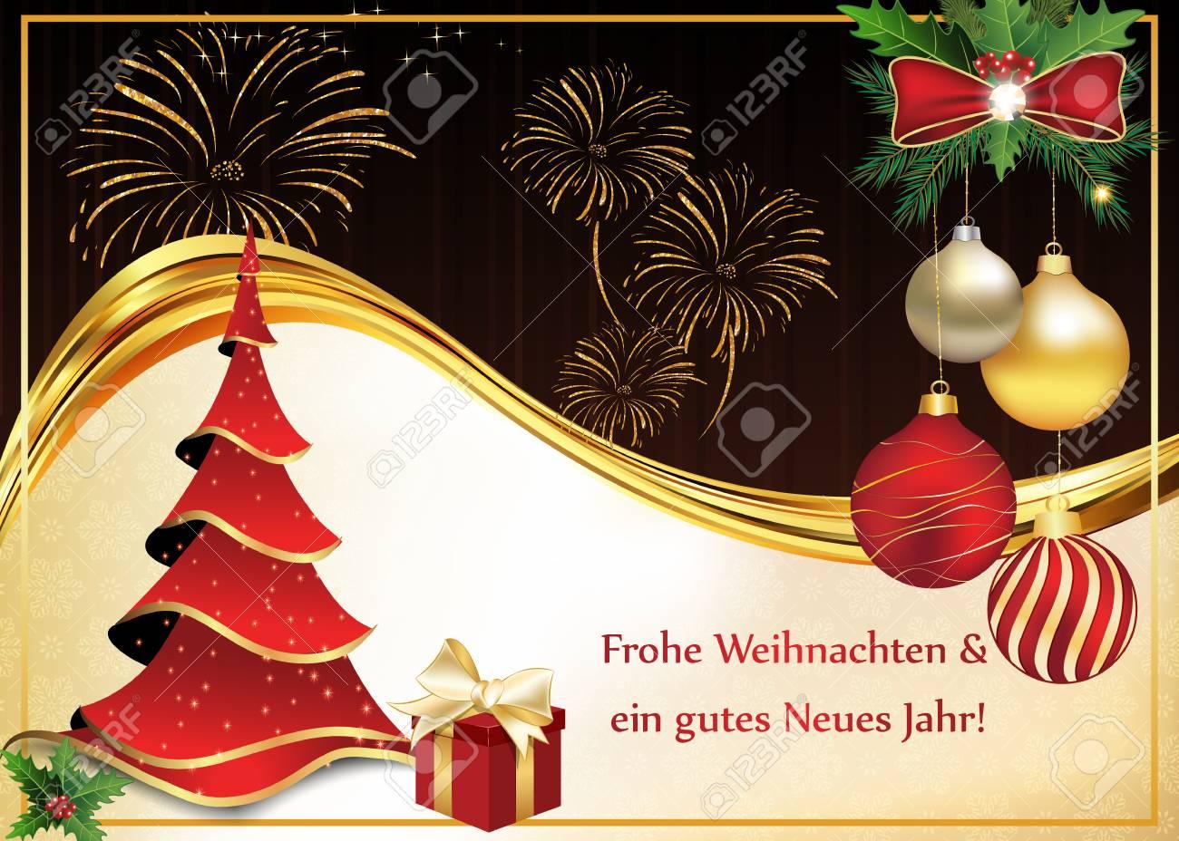 Grußkarte Für Weihnachten Und Neujahr Mit Wünschen In Deutscher ...