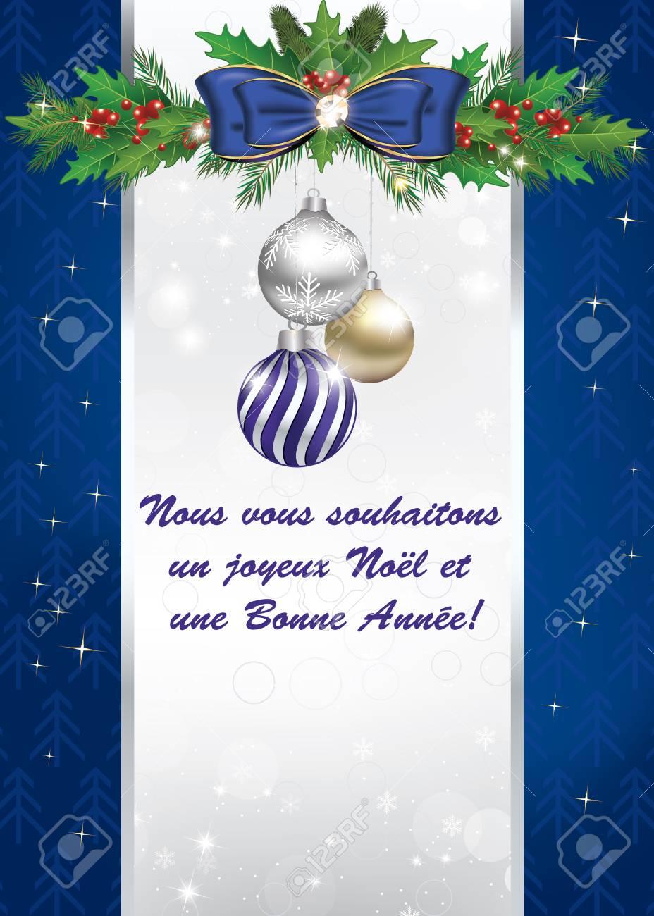 Auguri Di Buon Natale Francese.Biglietto Di Auguri Per Le Vacanze Invernali In Lingua Francese Nous Vous Souhaitons Un Joyeux Noe E Une Bonne Annee Vi Auguriamo Un Buon Natale E